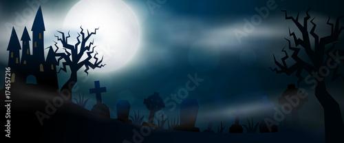 Zdjęcie XXL Nocny cmentarz, krzyże, nagrobki i groby poziomy baner. Kolorowa straszna Halloweenowa ilustracja. Wektor