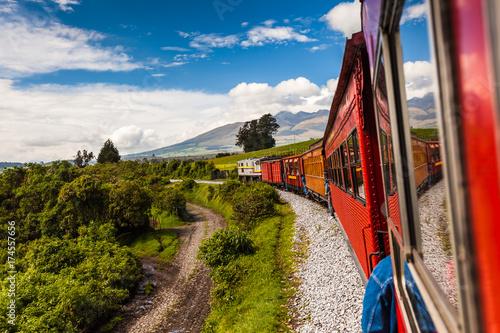Fotografering  Ecuadorian railroad crossing the Sierra region