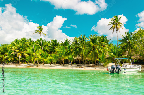 Amazing exotic coast of Dominican Republic with high palms, colorful boats Canvas Print