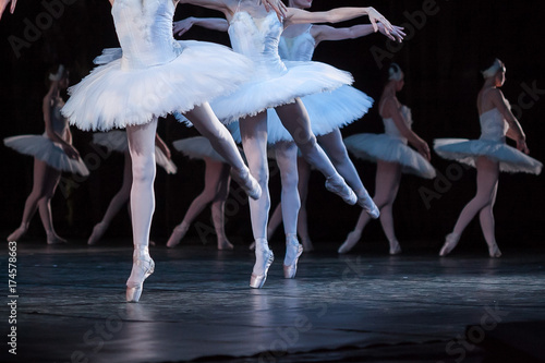 Poster Cygne tenderness, agility, choreography concept. dance of little swans performed by four attractive and graceful ballerinas with thin aesthetic legs in light pink pointe shoes