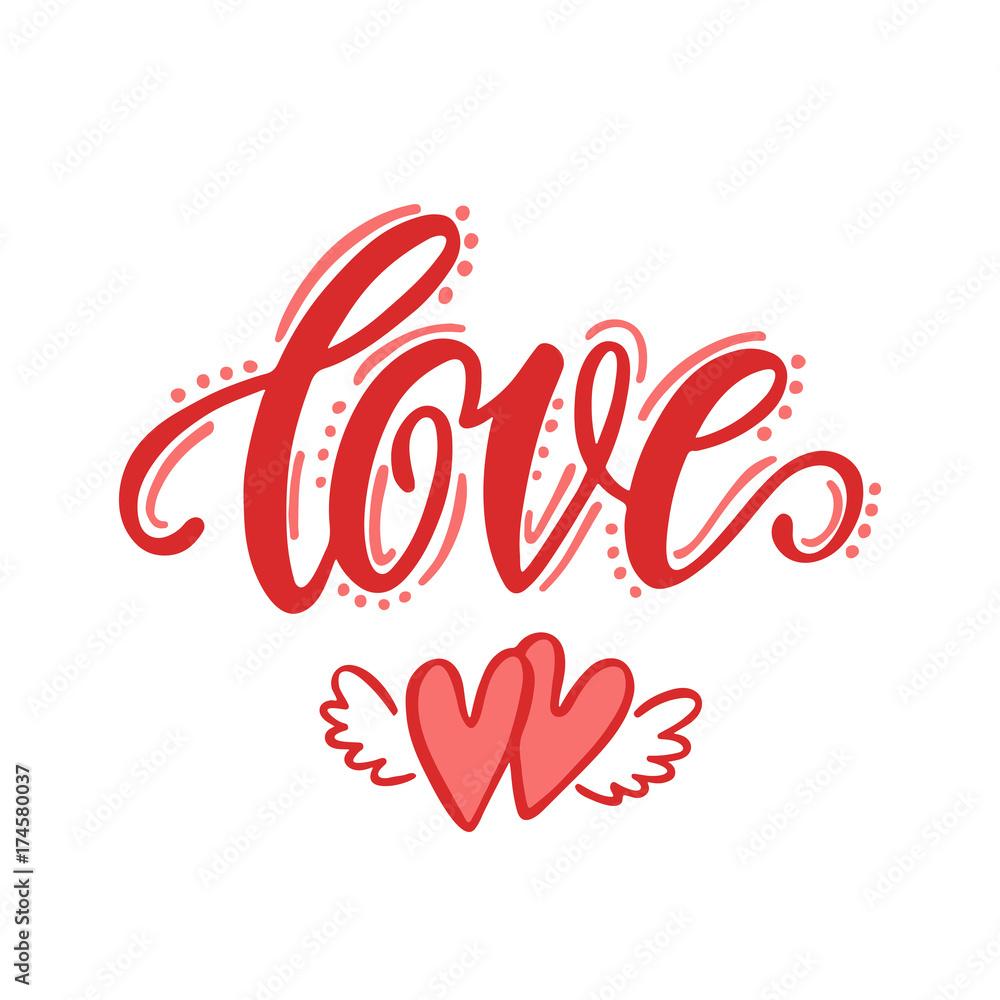 Fotografia  Love. Hand drawn lettering design.