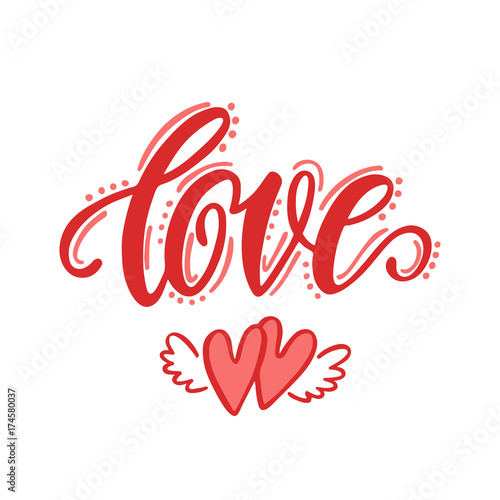 Love. Hand drawn lettering design. Canvas Print