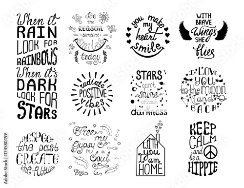 Tuinposter Positive Typography 1554467 Vector set of hand drawn calligraphy phrases. Romantic typography design.