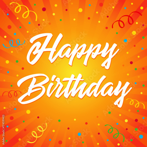 Happy Birthday Typographic Vector Design For Greeting Card Colored