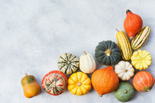 Top View Of Varieties Of Pumpkins And Gourds On The Off White Grey Stone Background, Copy Space For Text, Selective Focus