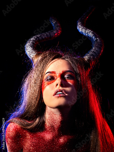 Mythical Creatures Halloween Costumes.Mad Satan Woman On Black Magic Ritual Of Hell Witch