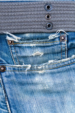 Denim Pocket And Belt Close-Up Still Life Background