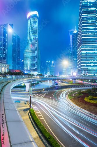 Foto op Aluminium Nacht snelweg urban traffic in downtown shanghai,china,asia.