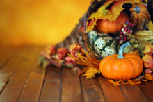 Pumpkins, Gourds, And Leaves In An Autumn Cornucopia Background