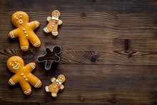 Gingerbread Cookie For New Year 2018 On Dark Wooden Background Top View Copyspace