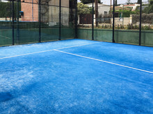 Empty Paddle Court, Blue Carpet. No Players Are Visible