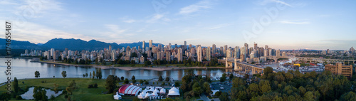 Staande foto Canada Aerial Panoramic Downtown City Skyline of Vancouver, British Columbia, Canada. Taken during bright sunny sunset.
