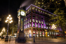 Steam Clock In Gastown, Downtown Vancouver, British Columbia, Canada.