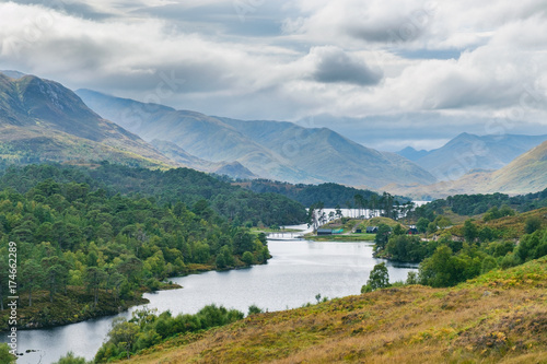 Fotografie, Obraz  Panoramic view of Loch Affric with the ancient Caledonian Pine Forest