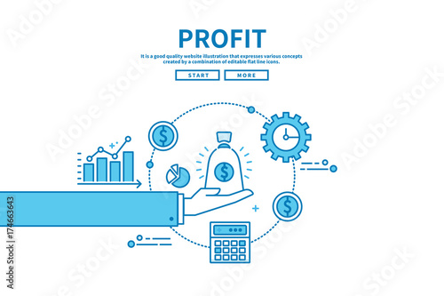 Fotografía  Flat line vector editable graphic illustration, business finance concept, profit