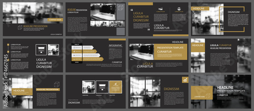 Fototapeta Black gold presentation templates and infographics elements background. Use for business annual report, flyer, corporate marketing, leaflet, advertising, brochure, modern style. obraz