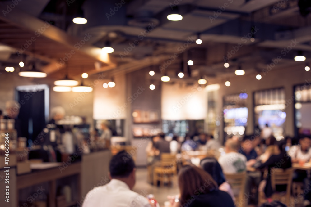 Fototapety, obrazy: Blur coffee shop or cafe restaurant with abstract bokeh light.background idea