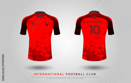 6ff9a30a160 soccer t-shirt design uniform set of soccer kit. football jersey template  for football club. red and black color