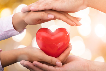 Hands Caring Red Heart Shape