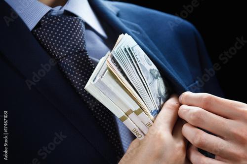 Canvastavla Concept for corruption, finance profit, bail, crime, bribing, fraud