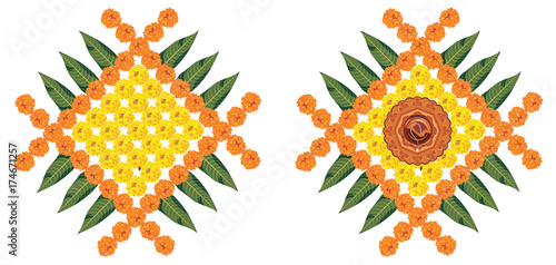 Stock Illustration Of Flower Rangoli For Diwali Or Pongal Or Onam Made Using Marigold Or Zendu Flowers And Red Rose Petals Over White Background With Diwali Diya In The Middle Buy