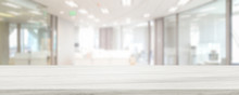 Marble Stone Tabletop And Blurred Bokeh Office Interior Space Background - Can Used For Display Or Montage Your Products.