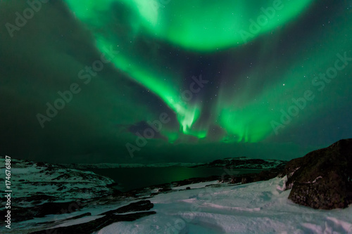 Poster Aurore polaire Northern lights above the fjord in Norway