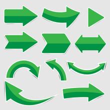 Set Of Green Paper Arrow Stickers
