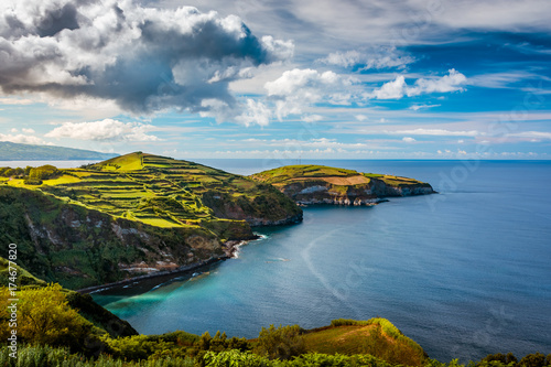 Tuinposter Blauwe jeans Beautiful panoramic view over Sao Miguel Island and Atlantic ocean from Miradouro De Santa Iria in Sao Miguel Island, Azores, Portugal