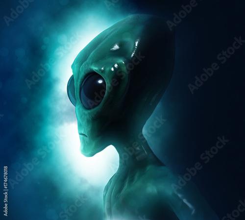 Foto op Canvas UFO Portrait of an alien in dark background. 3D illustration