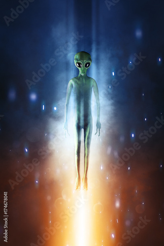 Poster UFO Alien in dark background. 3D illustration