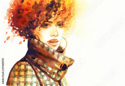 Poster Portrait Aquarelle Woman in coat. Fashion illustration. Beautiful woman