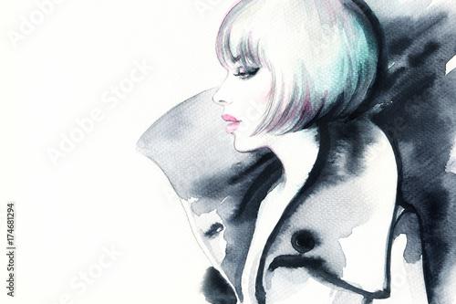 Poster Portrait Aquarelle Woman in coat. Fashion illustration. Watercolor painting