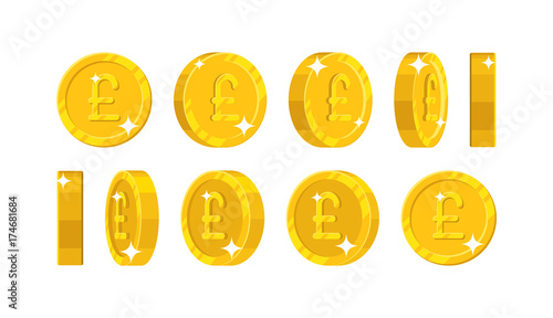 Gold pound views cartoon style isolated. The gold pound is at different angles around its axis for designers and illustrators. Rotation of a gold coin in the form of a vector illustration