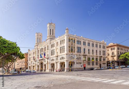 Cagliari, Sardinia, Italy. City Hall on the waterfront