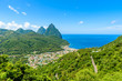 Gros and Petit Pitons near village Soufriere on Caribbean island St Lucia - tropical and paradise landscape scenery on Saint Lucia