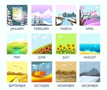 Four Seasons Month Nature Land...