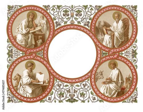 Obraz na plátně Frame with the apostles. On white background