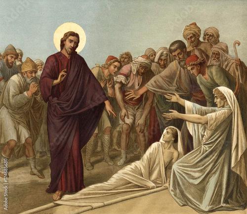 Jesus raises a widow's son. Canvas Print