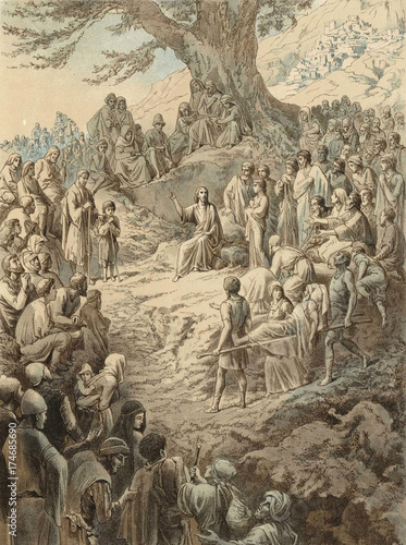 Fotografie, Obraz The sermon on the mount, Jesus Christ.