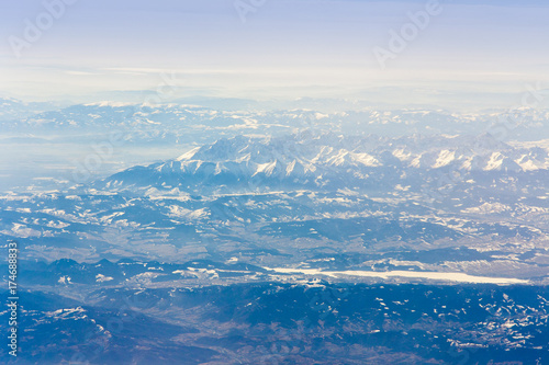 Papiers peints Arctique Alps of Europe view from the airplane
