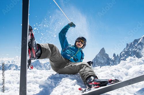 Man enjoying snow ski
