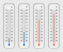Meteorological Thermometers Different Levels Set