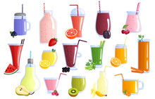Fruit Smoothie Colorful Icons...