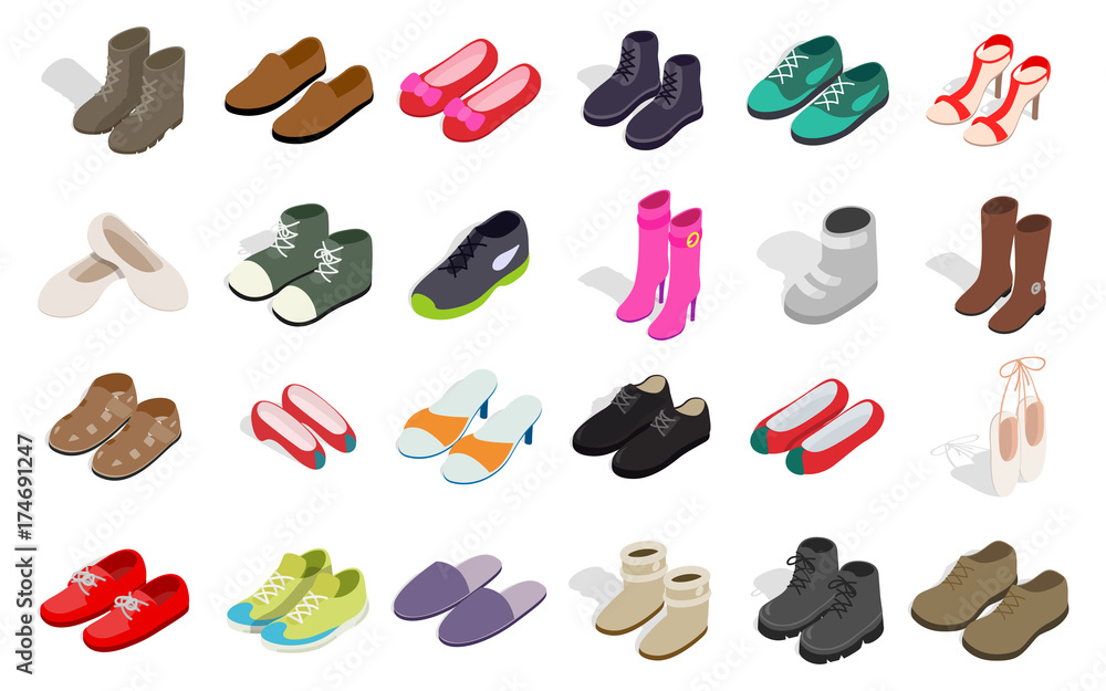 Fototapeta Man and woman shoes icon set, isometric style