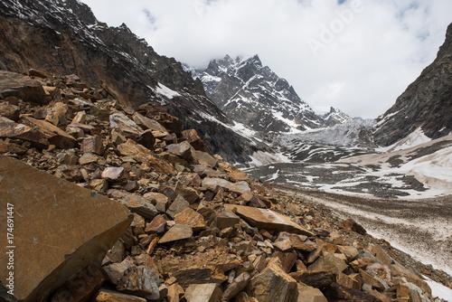 Fototapeta Rockfall and glacier in Caucasus mountains, Svanetia, Georgia