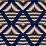 Geometryczny ornament. Złoty błękitny bezszwowy wzór - 174691867