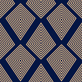 Geometric ornament. Golden blue seamless pattern - 174691867