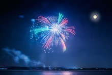 Mid Autumn Festival Fireworks Display The Full Moon