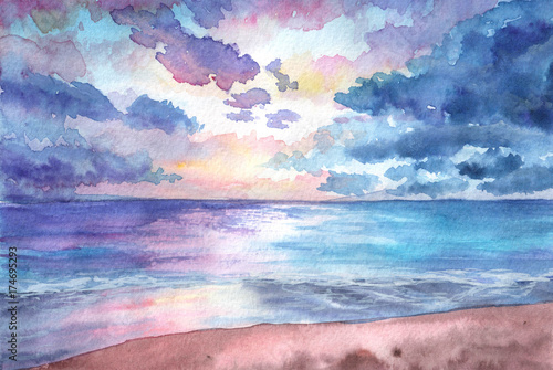Poster Rose clair / pale Hand drawn watercolor illustration. Seascape with sunset in the beach. tropical, nature, beuty, relax